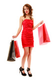 Full length of elegant girl in red dress with shopping bags
