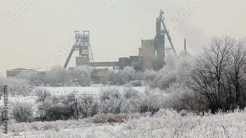 Coal mine in winter, Donbass. Donetsk region, Ukraine