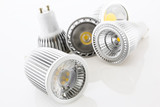 five GU10 LED lamps with different designs of the cooling