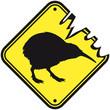 Leinwandbild Motiv Warning Shield Kiwi Birds Newzealand