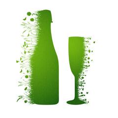 Sektflasche mit Glas
