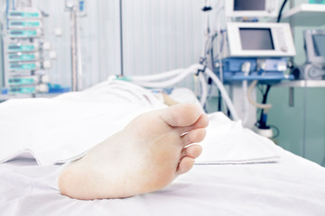 Foot a patient lying in the ward