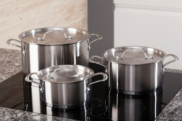 New cookware set on induction hob