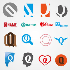 Set of alphabet symbols of letter Q, logos, icons, vector