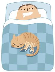 猫と寝る人