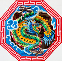 Chinese dragon in octagon window
