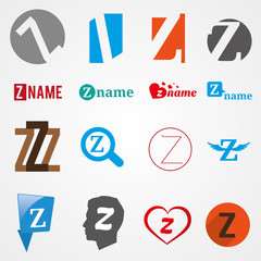 Set of alphabet symbols of letter Z, logos, icons, vector