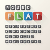 Bold Flat Font and Numbers in Rounded Square, Eps 10 Vector, Edi