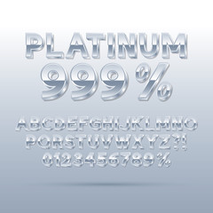 Platinum Silver Font and Numbers, Eps 10 Vector, Editable for an