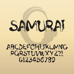 Samurai, Abstract Japanese Brush Font and Numbers, Eps 10 Vector