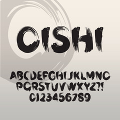Oishi, Abstract Japanese Brush Font and Numbers, Eps 10 Vector E