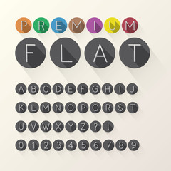 Light Flat Font and Numbers in Circle, Eps 10 Vector, Editable f
