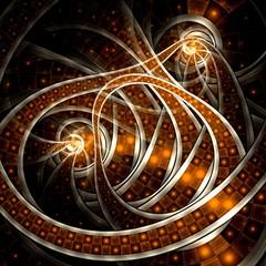 Dark yellow fractal lines, digital artwork