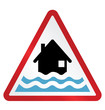 Red alert flood warning sign