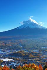 Mountain Fuji and village