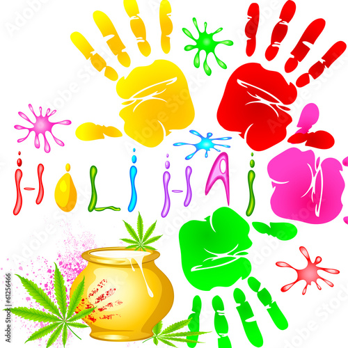 Holi Background with colorful handprint