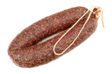 dried sausages on white background