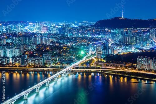 Poster Seoul city at night