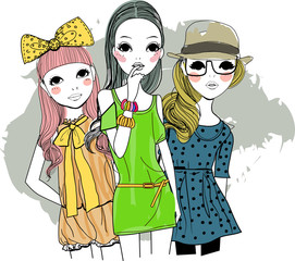 Three fashion girls
