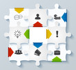 Parts puzzles with icons. Business concept, infographics, web de