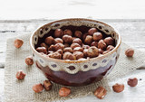 hazelnuts in a ceramic dish