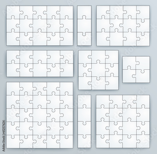 Jigsaw Puzzle Templates. Set of puzzle  pieces