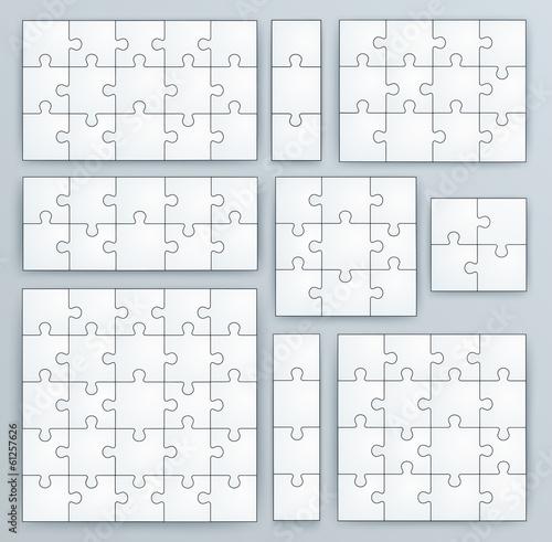 Fototapeta Jigsaw Puzzle Templates. Set of puzzle pieces
