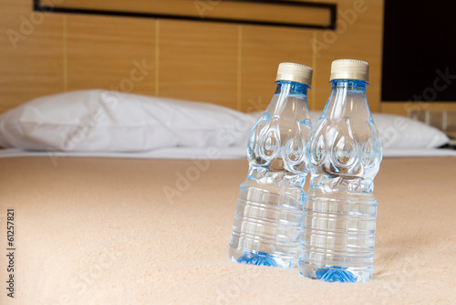 Mineral water in hotel room