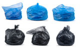 Collection garbage bags isolated on white background