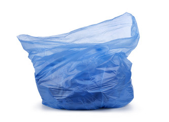 blue garbage bag with trash isolated on white