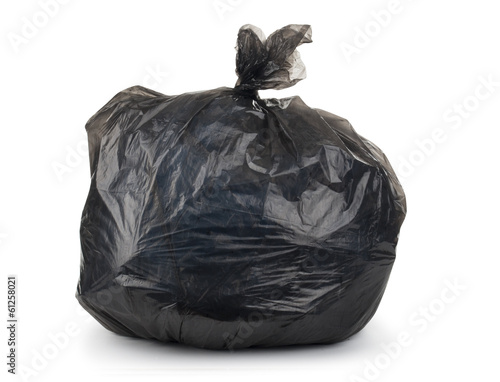 garbage bag with trash isolated on white