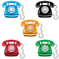 Telephone set, vector old rotary phone