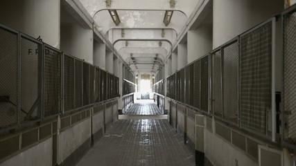 Abandoned industrial interior in dark colors
