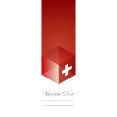 Swiss cube flag white background vector