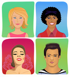 Man woman profile avatar vector set