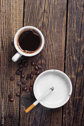 Cigarette and coffee