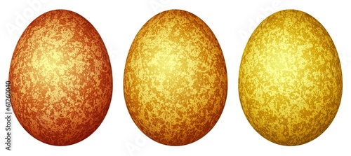 Set of three colored Easter eggs (red, orange, yellow)