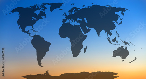 World map, continents in sunset sky background.