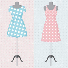 Different vintage dresses on a mannequin. Vector