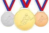 Russian medals with skier
