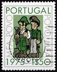 Postage stamp Portugal 1975 Soldier as Farmer