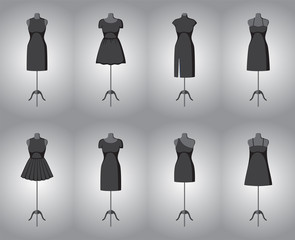 Set of woman little black dresses. Vector