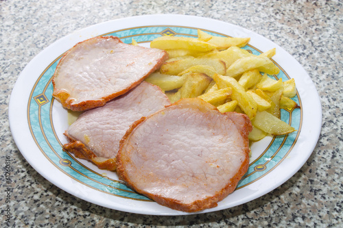 marinated pork tenderloin with fries