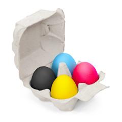 Frohe Ostern, gefärbte Eier im Karton, CMYK, Druckfarben