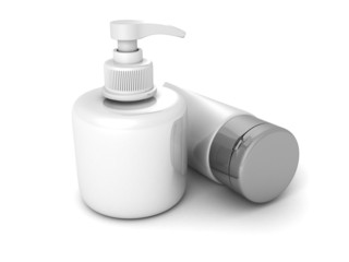 cosmetics container and bottle on white background