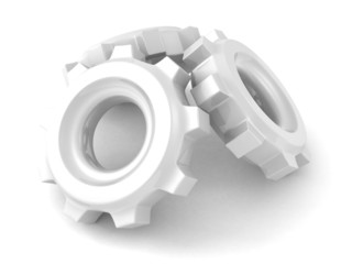 White connected work cogwheel gears on white background