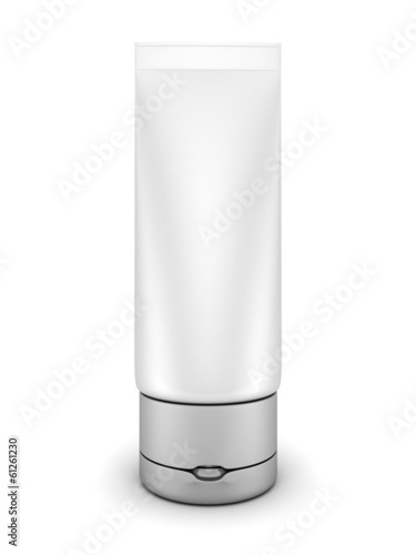 cosmetics tube on white background