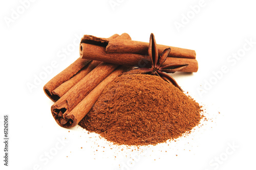 Cinnamon sticks with star anise isolated