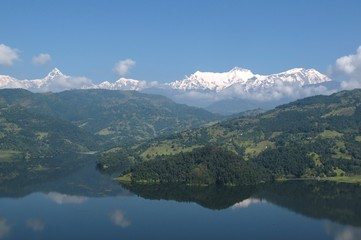 Annapurna Range and lake Begnas Tal