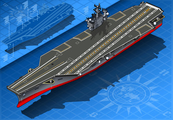 Isometric Aircraft Carrier in Front View